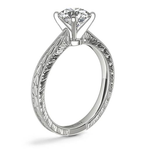 Hand-Engraved Solitaire Engagement Ring