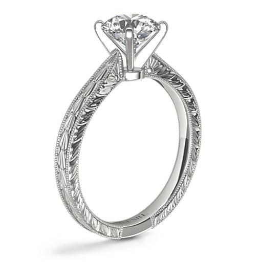 手工雕刻單石訂婚戒指