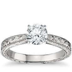 Hand Engraved Solitaire Engagement Ring in Platinum