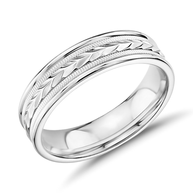 Hand-Engraved Wheat and Milgrain Wedding Band in 14k White Gold (