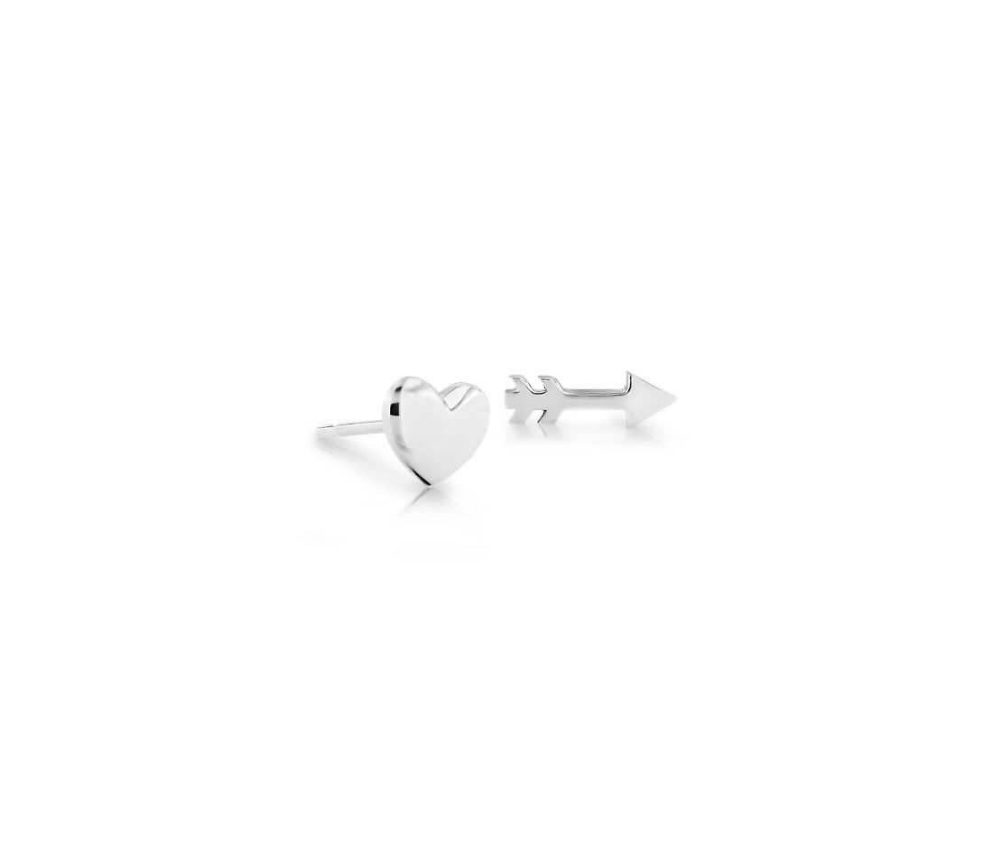 Heart and Arrow Mismatched Stud Earrings in Sterling Silver