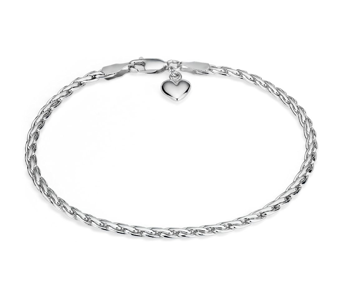 Heart Charm Bracelet in Sterling Silver