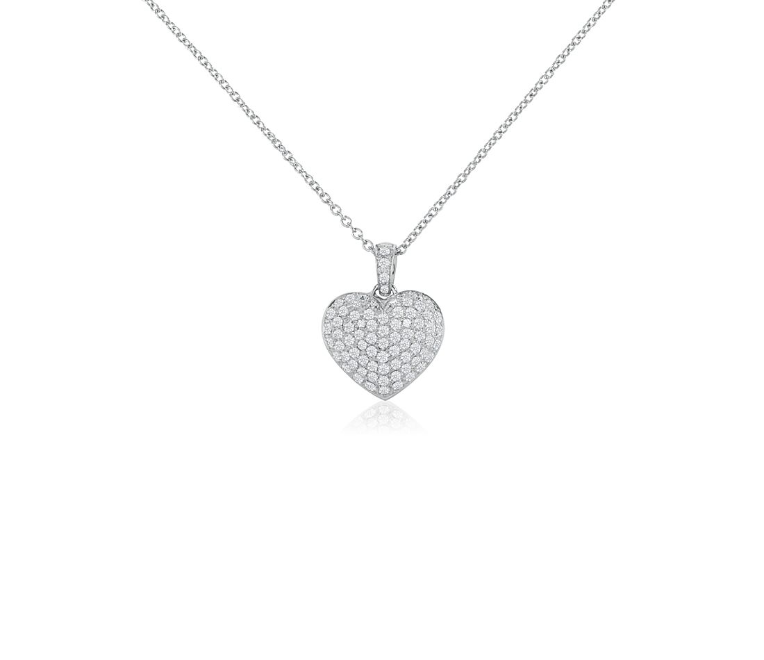 Pavé Heart Diamond Pendant in 18k White Gold (1 ct. tw.)