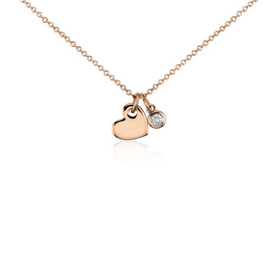 Mini Heart and Diamond Charm Pendant in 14k Rose Gold 120 ct tw