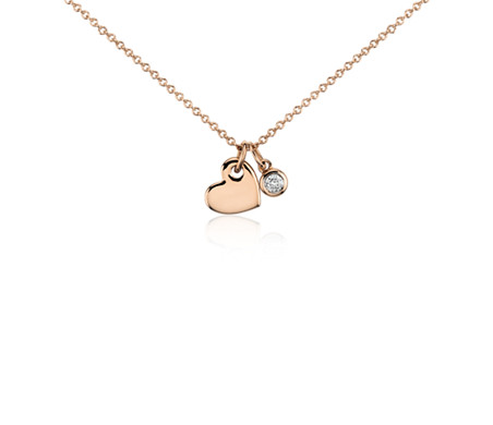 Mini Heart and Diamond Charm Pendant in 14k Rose Gold