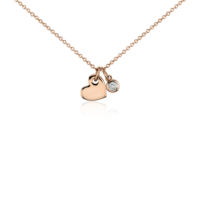 Mini Heart and Diamond Charm Pendant in 14k Rose Gold (1/20 ct. t
