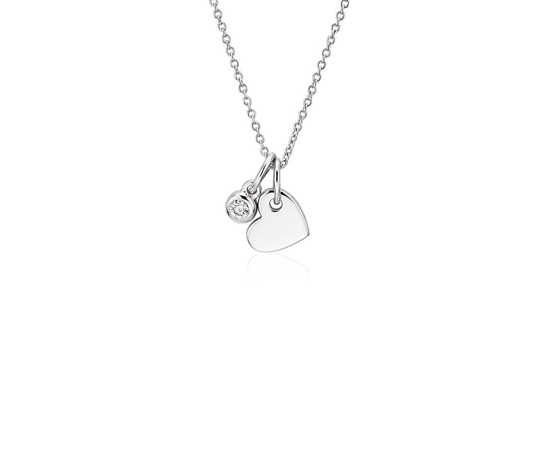 Mini Heart and Diamond Charm Pendant in 14k White Gold