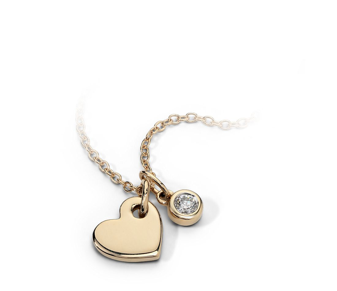 Mini Heart and Diamond Charm Pendant in 14k Yellow Gold