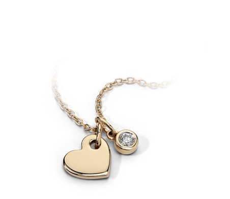 Mini Heart and Diamond Charm Pendant in 14k Yellow Gold (1/20 ct. tw.)