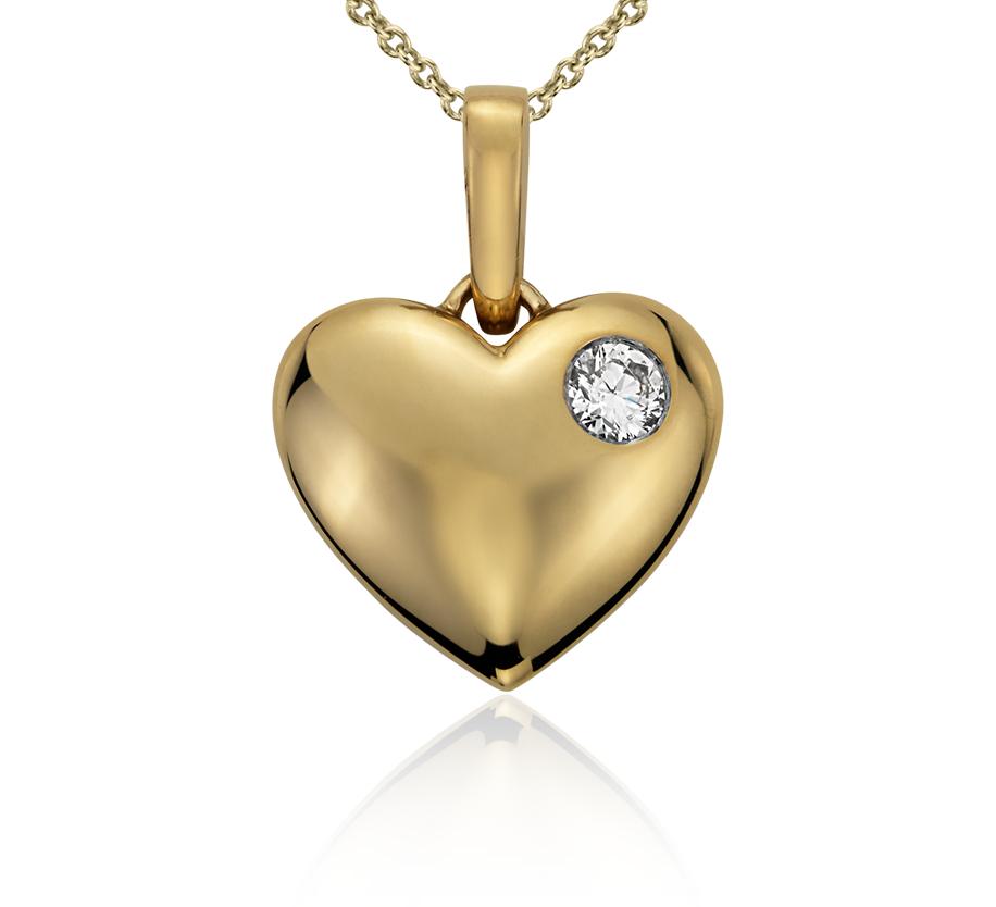 Colgante con forma de corazón con diamante redondo en oro amarillo de 14k