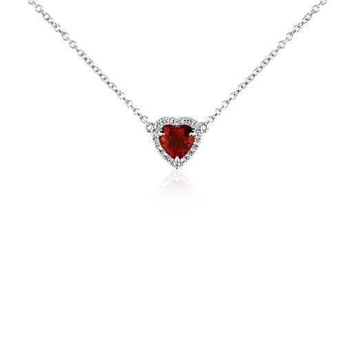 Heart shaped garnet and diamond pendant in 18k white gold 6mm heart shaped garnet and diamond pendant in 18k white gold 6mm blue nile mozeypictures Choice Image