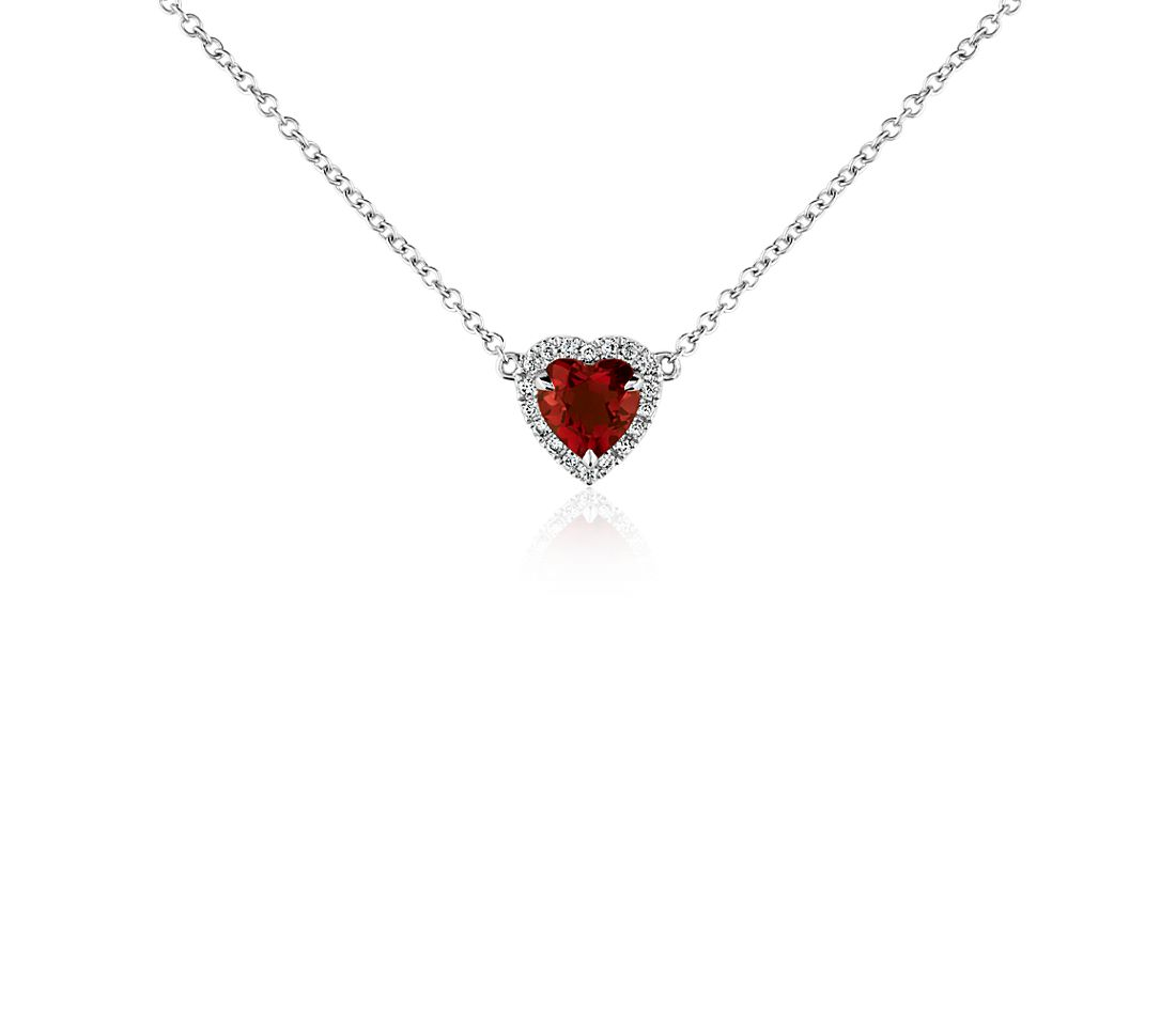 Heartshaped Garnet And Diamond Pendant In 18k White Gold (6mm)
