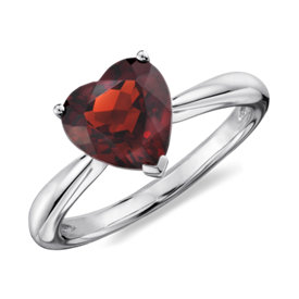 Heart Garnet Ring in Sterling Silver (8mm)