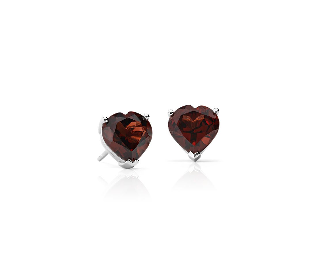 Garnet Heart Earrings In Sterling Silver 8mm