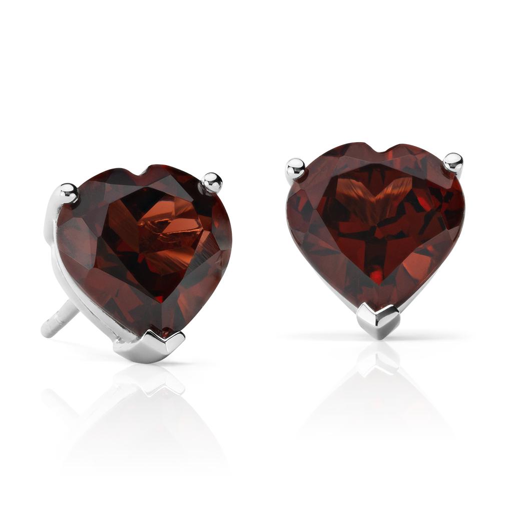 Garnet Heart Earrings in Sterling Silver (8mm)