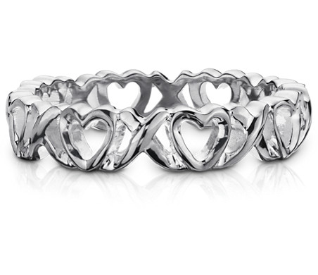 Heart Kiss Ring in Sterling Silver