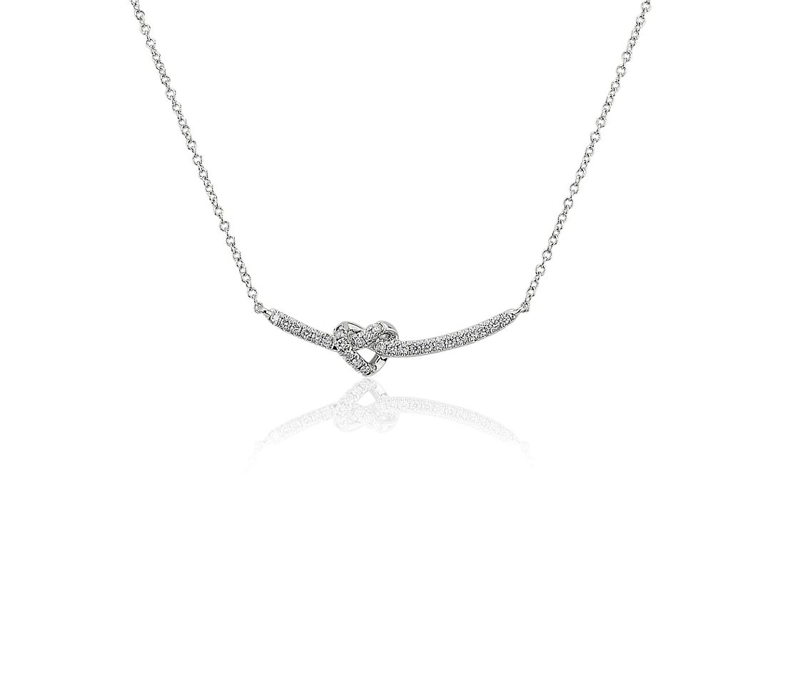 Heart Knot Curved Bar Necklace in 14kt White Gold (1/8 ct. tw.)
