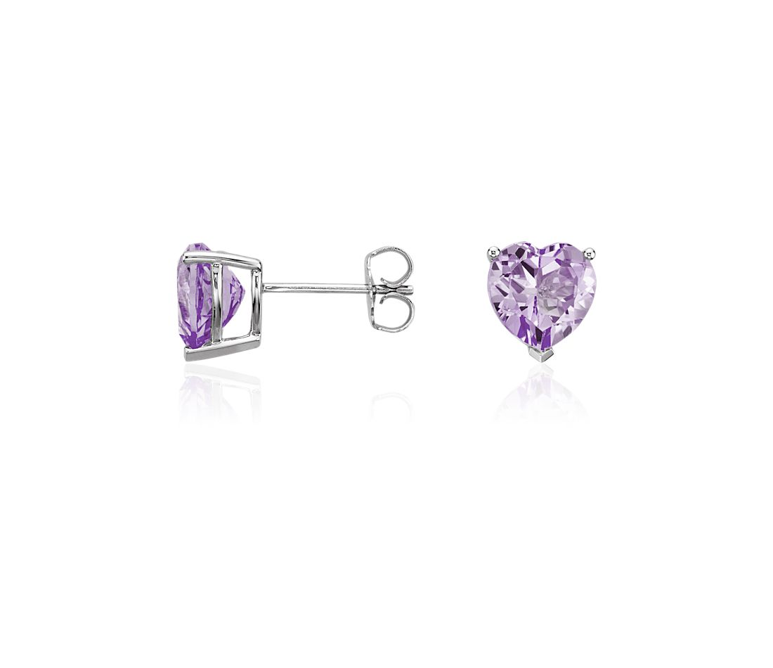Lavender Amethyst Heart Earrings in Sterling Silver (8mm)
