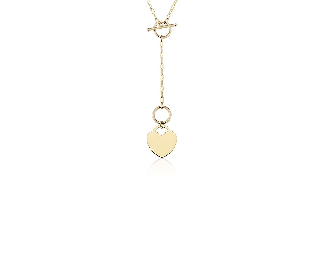 Engravable Heart Medallion Toggle Necklace in 14k Yellow Gold