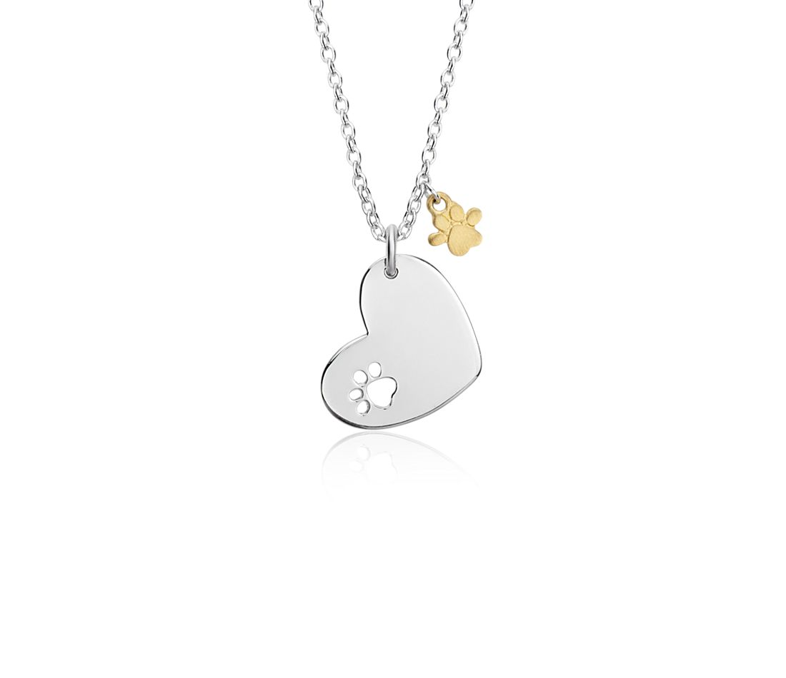 Heart Pendant and Paw Print Charm in Sterling Silver and Yellow Gold Vermeil