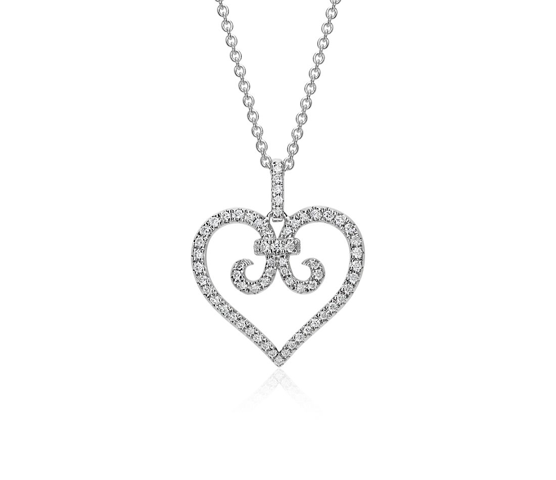 Heart Scroll Diamond Pendant in 14k White Gold (1/3 ct. tw