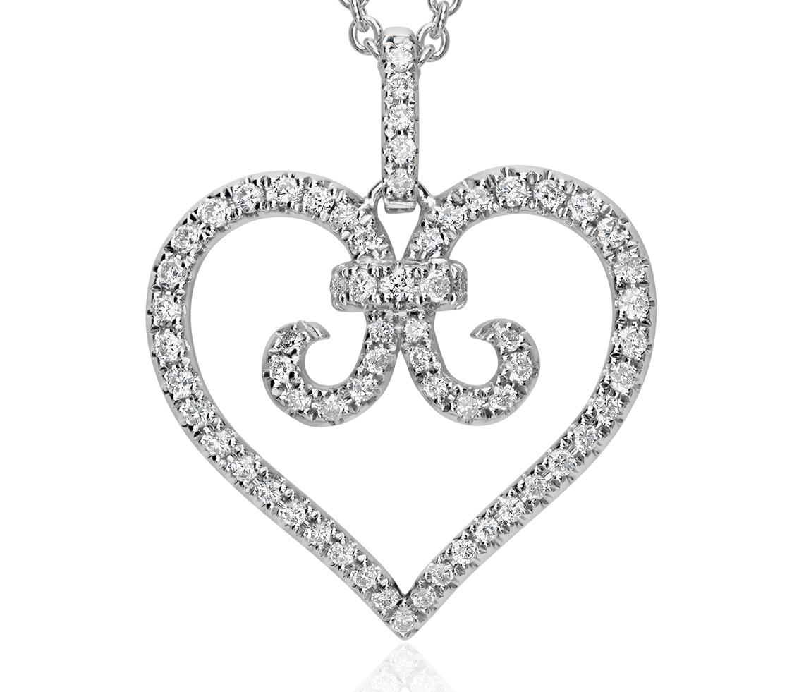 Pendentif diamant volute cœur en or blanc 14carats (1/3carat, poids total)