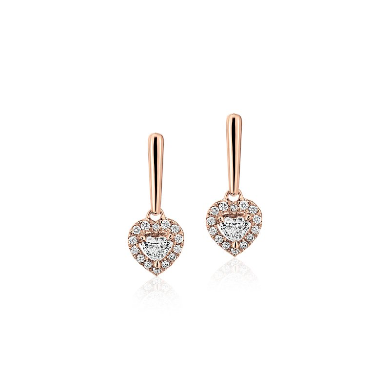 Heart-Shaped Diamond Halo Drop Earrings in 14k Rose Gold (1/3 ct.