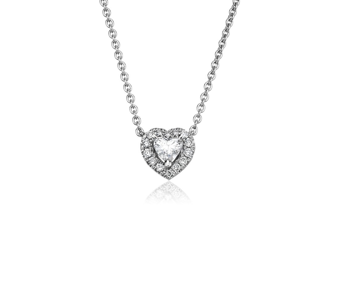 Heart Shape Diamond Halo Pendant in 14k White Gold