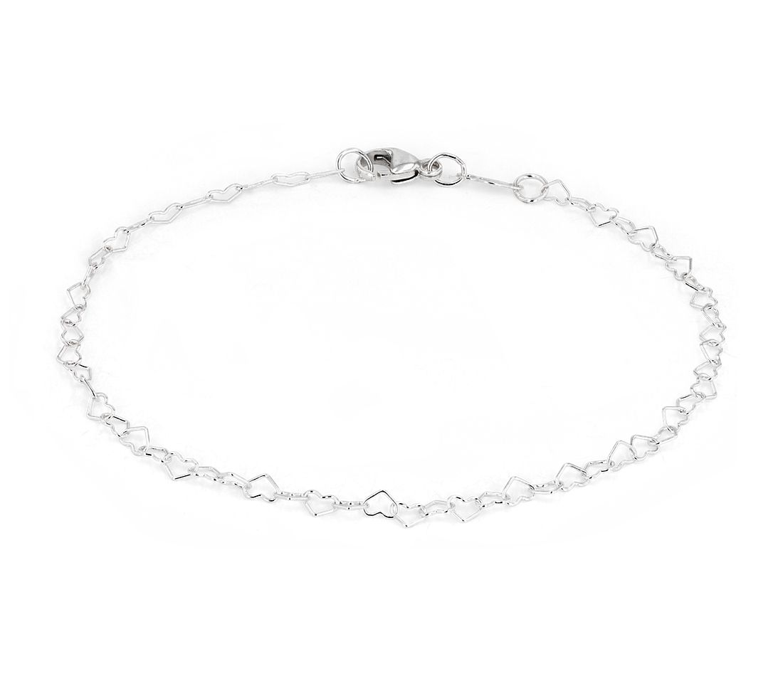 Heart-shaped Chain Bracelet in Sterling Silver