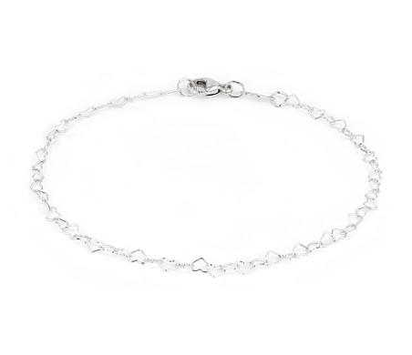 Heart-shaped Chain Bracelet in Sterling Silver