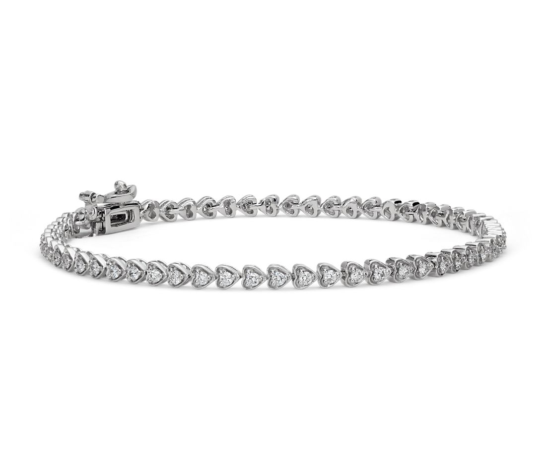 Heart Shaped Diamond Tennis Bracelet In 18k White Gold 1 Ct Tw