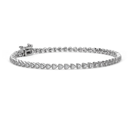 Heart Shaped Diamond Tennis Bracelet In 18k White Gold 1