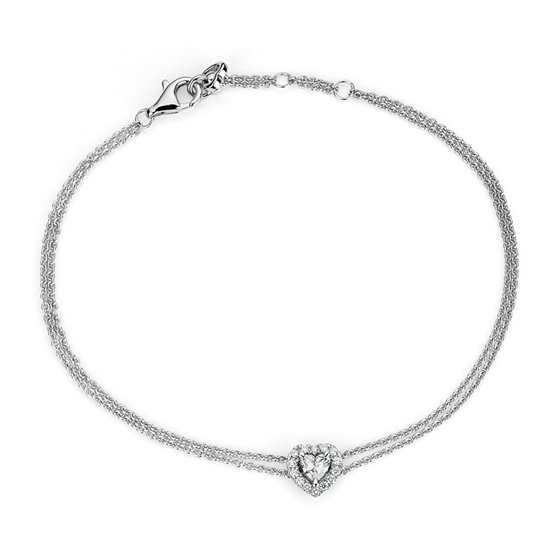 Heart-Shaped Diamond Halo Bracelet in 14k White Gold (1/3 ct. tw.