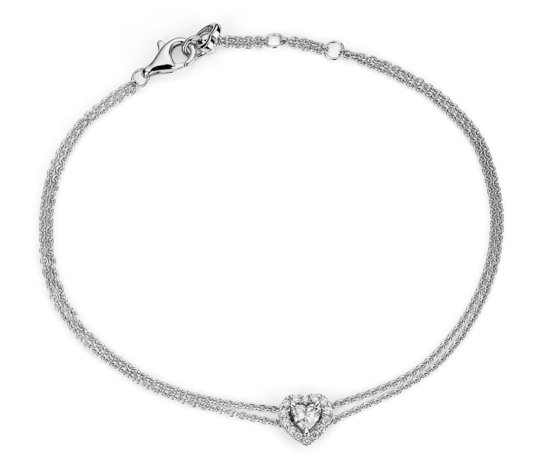 Heart-Shaped Diamond Halo Bracelet in 14k White Gold (1/3 ct. tw.)