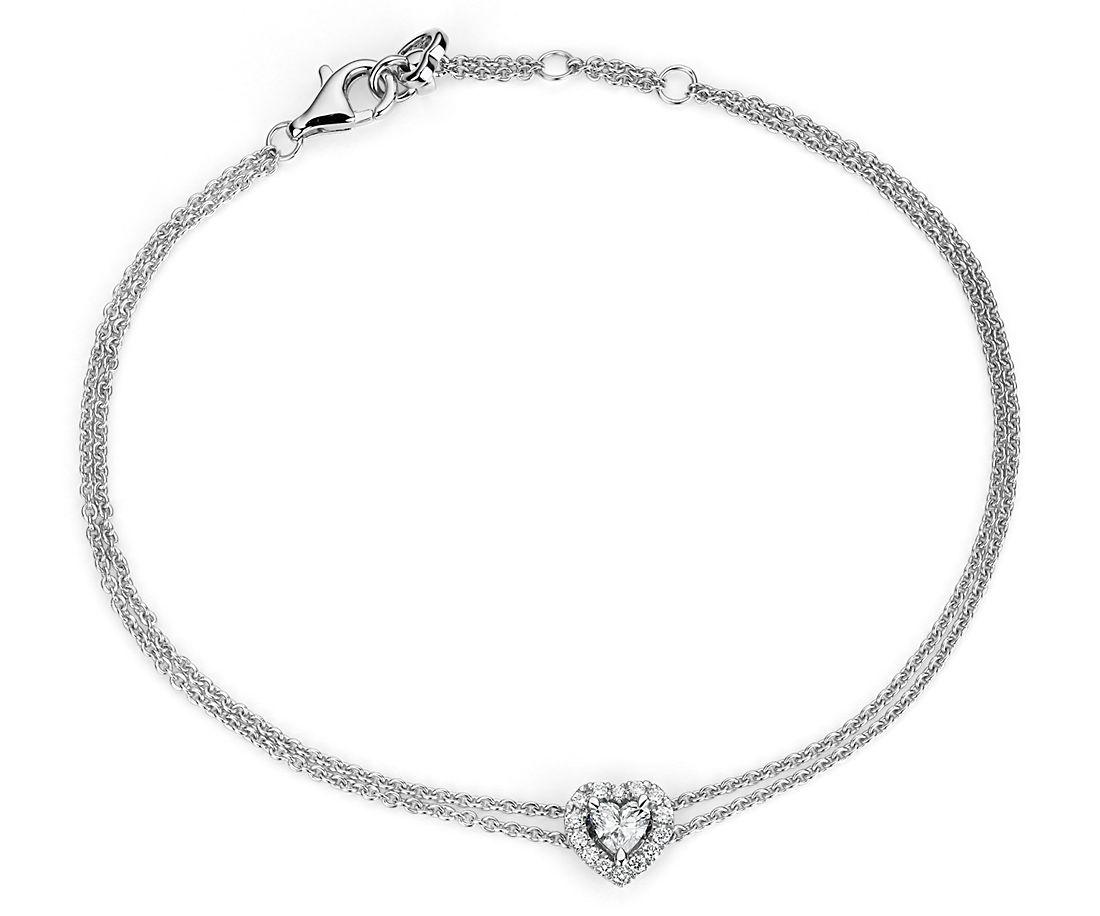 Brazalete con halo de diamantes en forma de corazón en oro blanco de 14 k (1/3 qt. total)