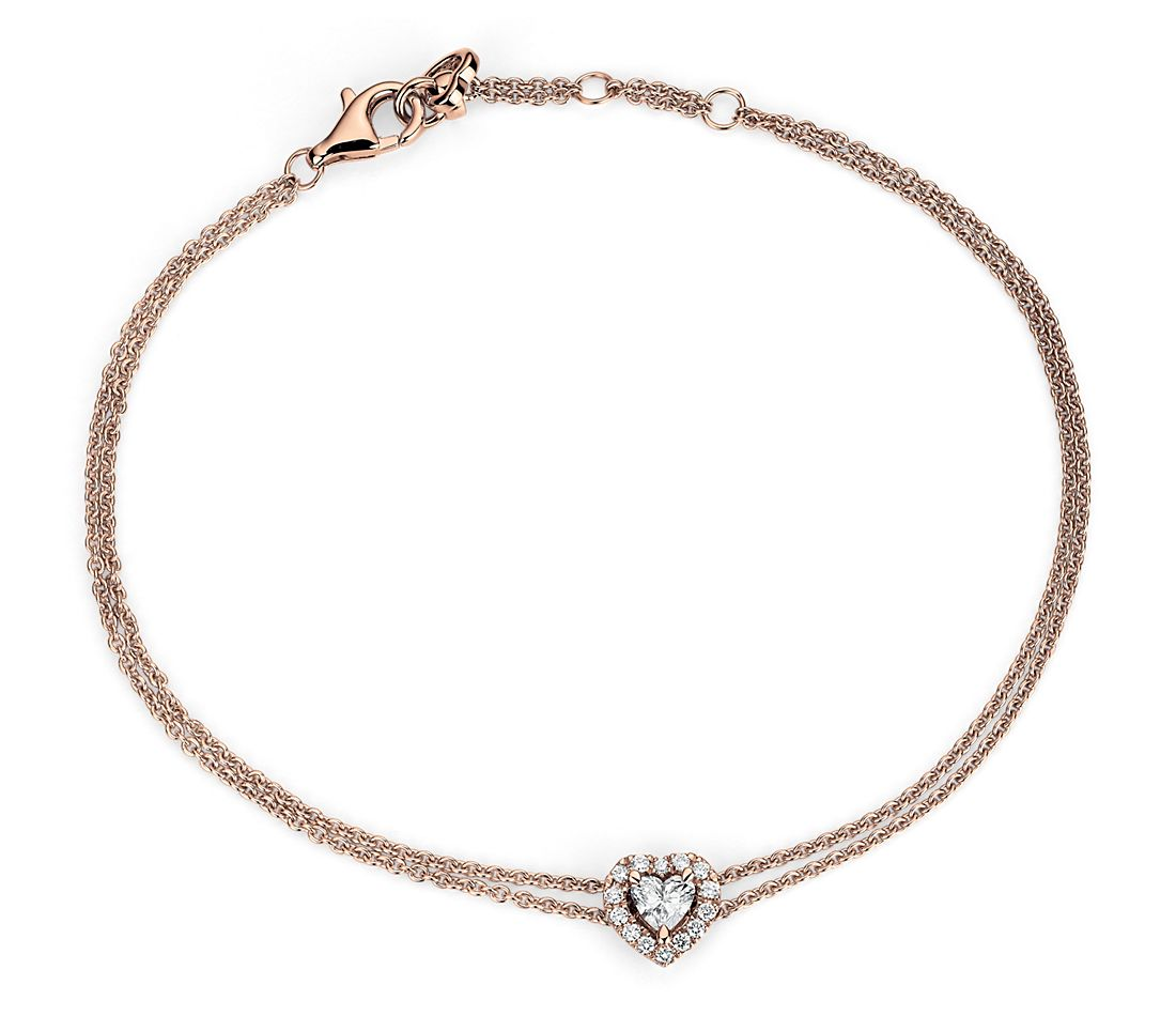 Heart-Shaped Diamond Halo Bracelet in 14k Rose Gold (1/3 ct. tw.)
