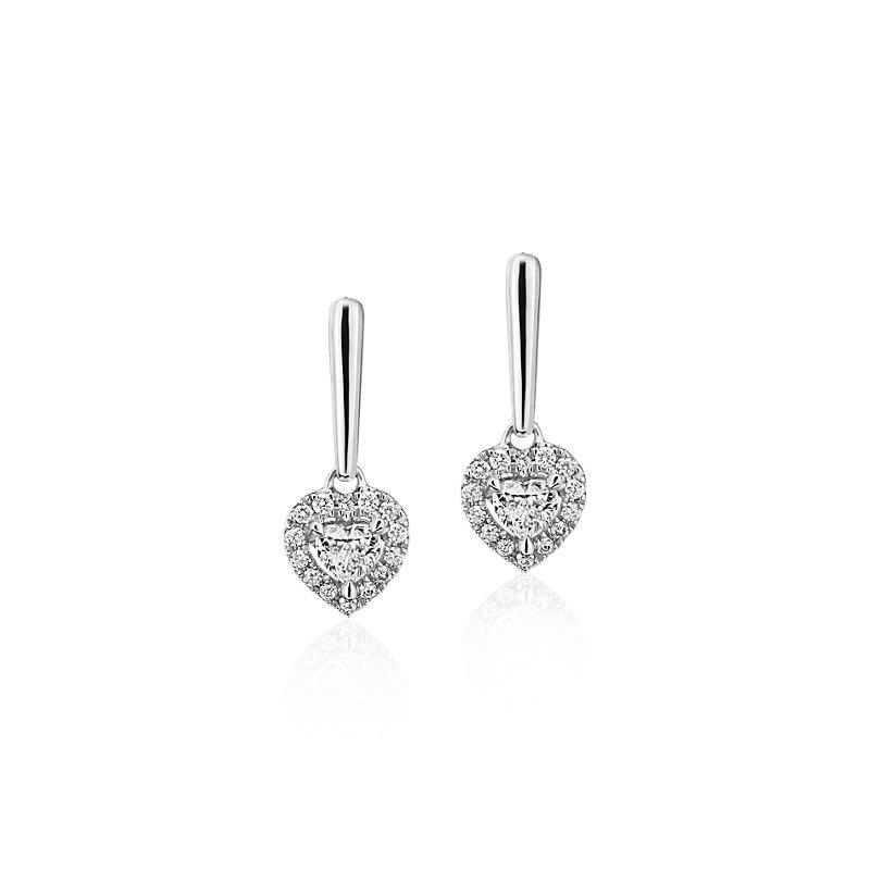 Heart-Shaped Diamond Halo Drop Earrings in 14k White gold (1/3 ct