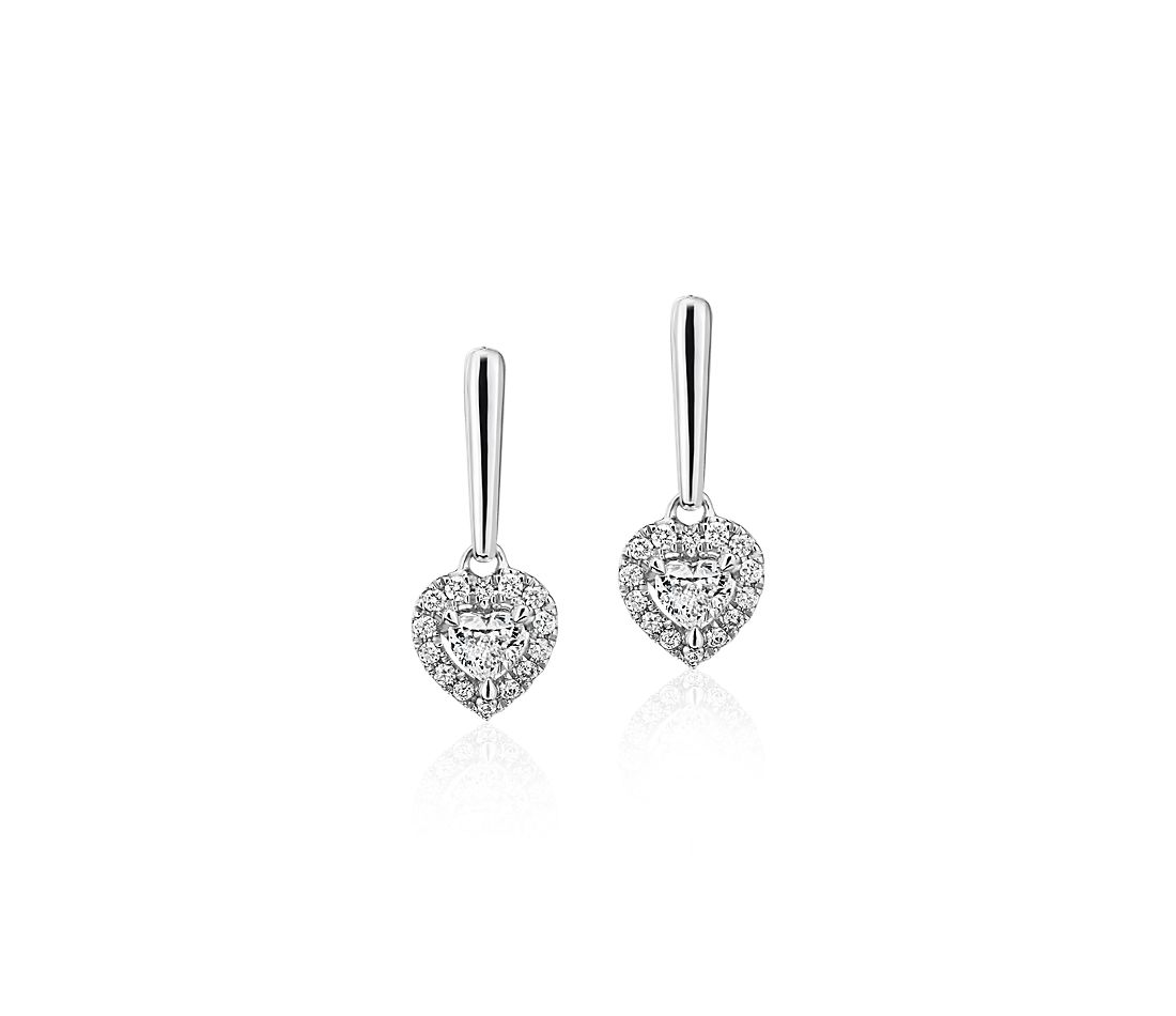 Heart-Shaped Diamond Halo Drop Earrings in 14k White gold (1/3 ct. tw.)