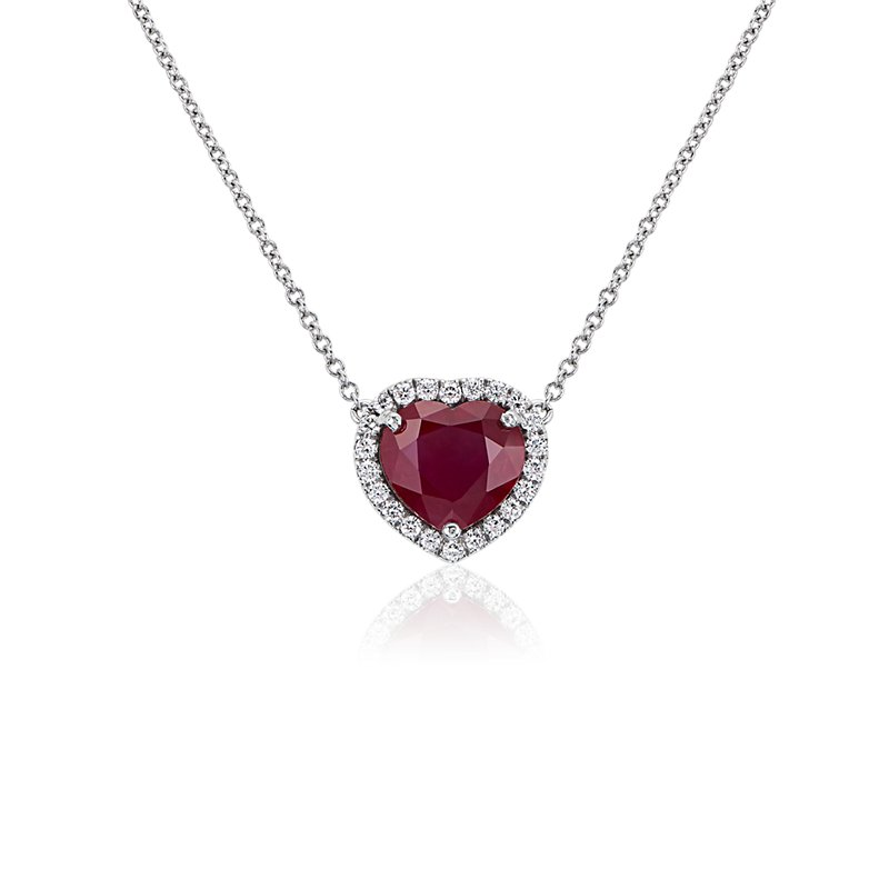 Heart Shaped Ruby with Diamond Halo Pendant in 18k White Gold