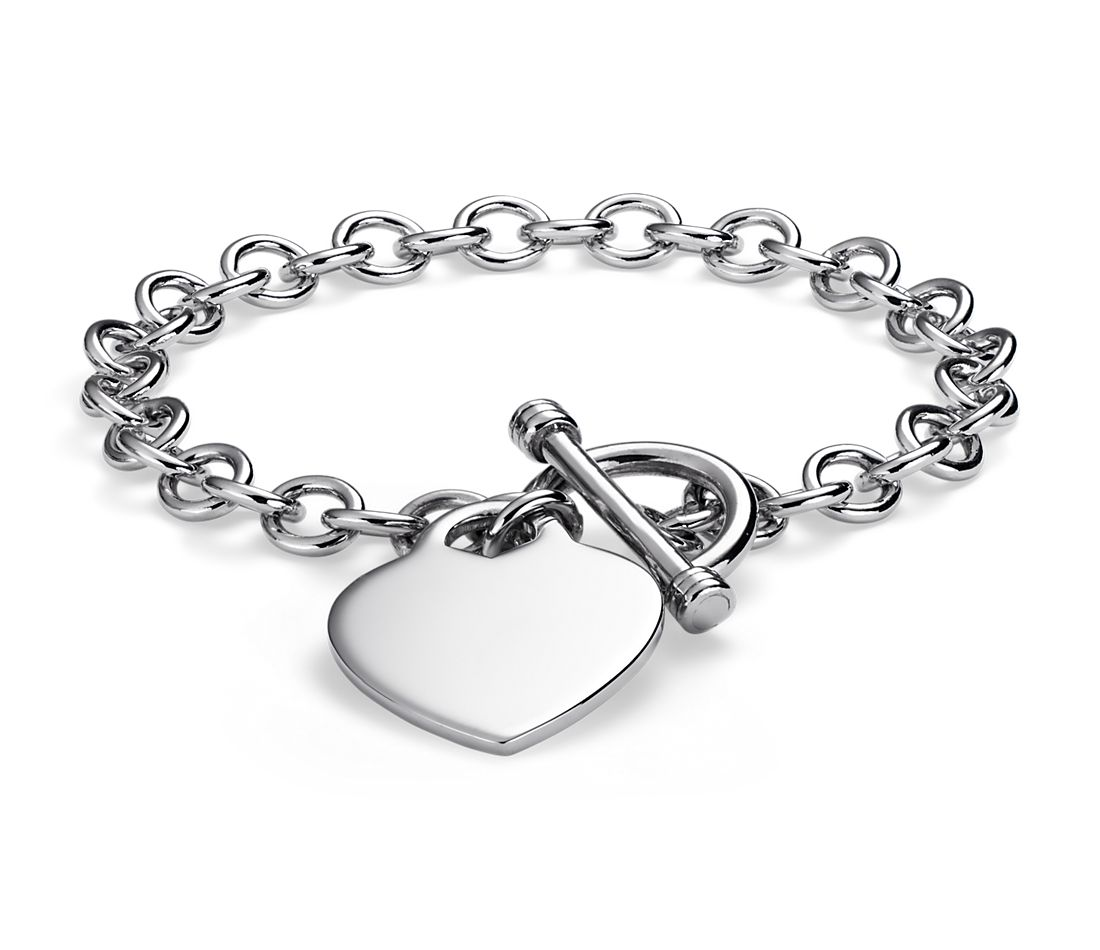Heart Tag Toggle Bracelet In Sterling Silver