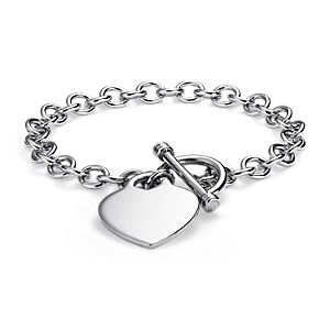 Heart-Tag Toggle Bracelet in Sterling Silver