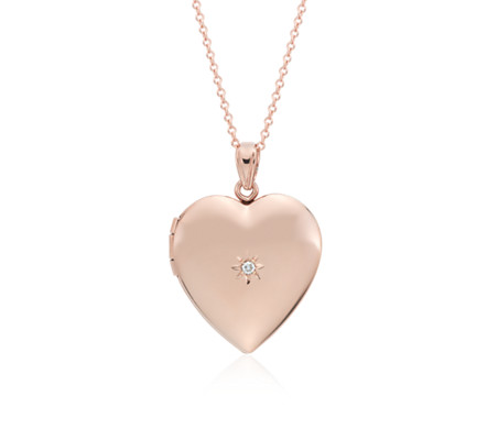 Engravable Sweetheart Locket with Diamond Detail in 14k Rose Gold