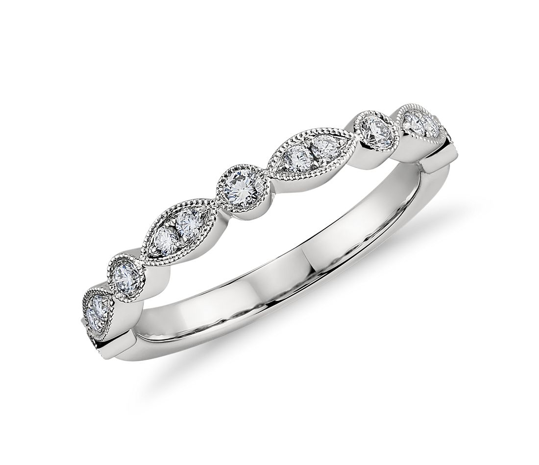 milgrain marquise and dot diamond ring in platinum 15 ct tw - Marquis Wedding Ring