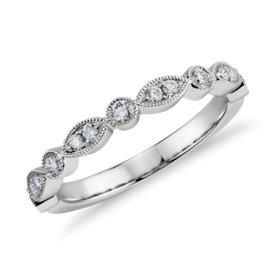 Milgrain Marquise and Dot Diamond Ring in Platinum