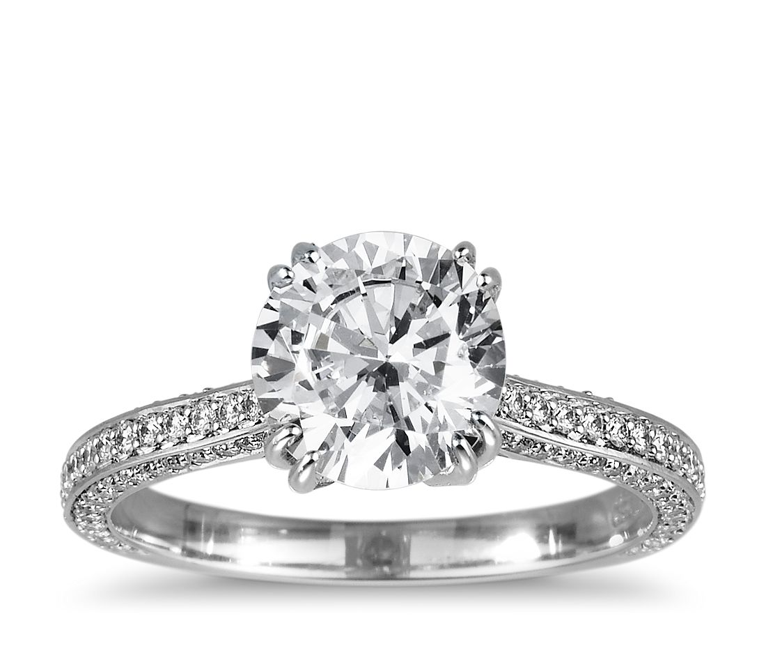 heirloom micropav diamond engagement ring in platinum 13 ct tw - How Much Does A Wedding Ring Cost