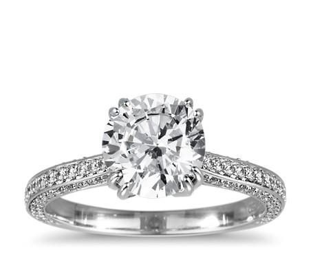 Heirloom Micropavé Diamond Engagement Ring in Platinum (1/3 ct. tw.)