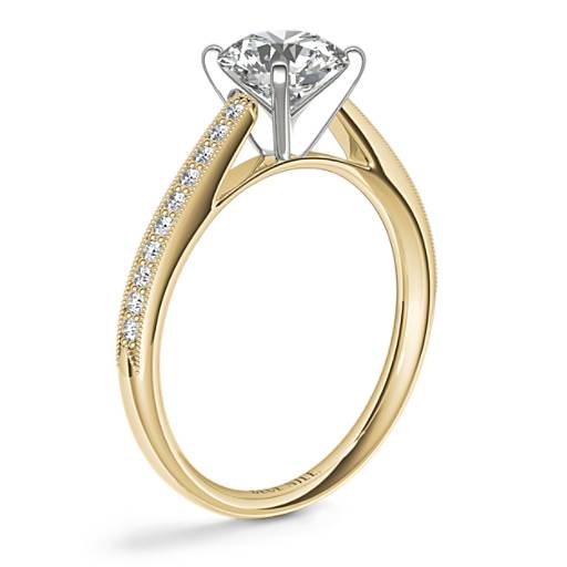 Riviera Pavé Heirloom Cathedral Diamond Engagement Ring