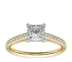 Heirloom Petite Cathedral Pavé Diamond Engagement Ring in 18k Yellow Gold (0.12 ct. tw.)