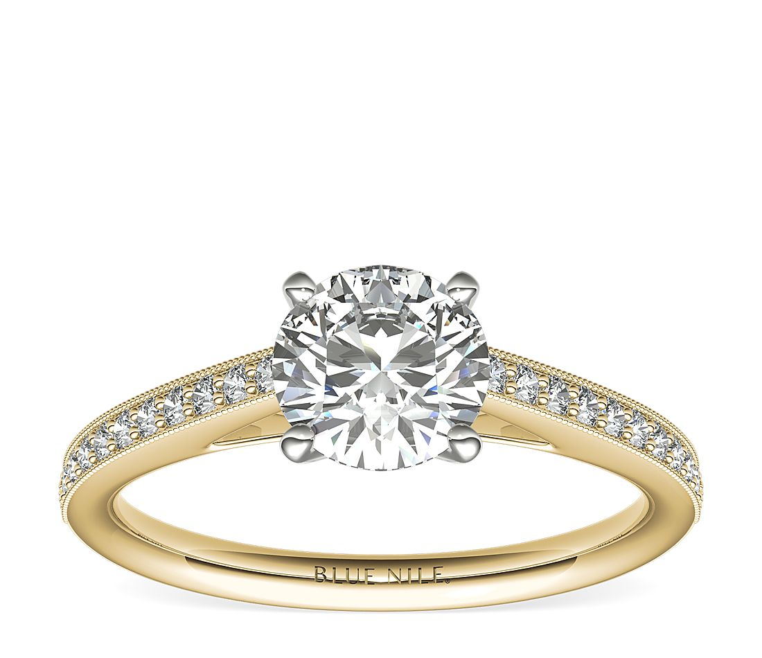 78d161037 Riviera Pavé Heirloom Cathedral Diamond Engagement Ring in 18k Yellow Gold  (1/10 ct. tw.)