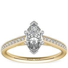 18k 金 Riviera Pavé 家传之宝大教堂钻石订婚戒指(1/10 克拉总重量)